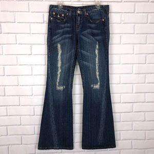 True Religion #503 Flare Distressed Jeans sz 30